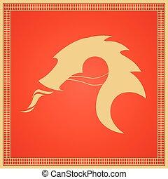 plat, illustration., chinois, traditionnel, dragon., vecteur, asia., est