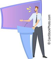 plat, illustration., coloré, donner, speacker, screen., ...