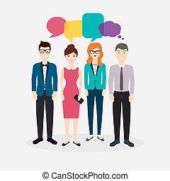 plat, illustration., coloré, gens, média, concept., business, vecteur, dialogue, social, speech., réseau