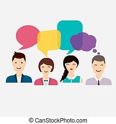 plat, illustration., coloré, icônes, média, concept., affaires gens, vecteur, dialogue, social, speech., réseau
