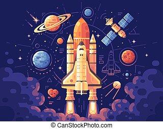 plat, illustration., coloré, lancement, concept., espace, arrière-plan., objets, exploration, navette, astromomie, bannière