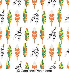 plat, illustration., coloré, vendange, tribal, seamless, vecteur, ethnique, modèle, plume, oiseau