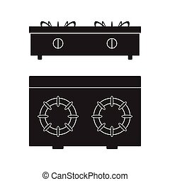 plat, illustration., cooker, kachels, gas, meldingsbord, vector, pictogram