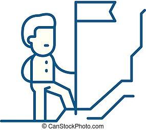 plat, illustration., découvreur, signe, concept., symbole, vecteur, ligne, icône, contour