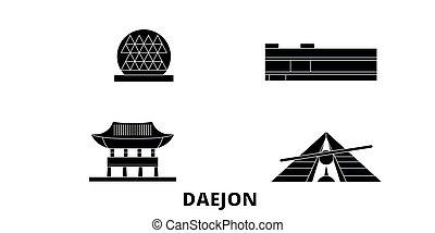 plat, illustration, daejon, voyage, landmarks., symbole, horizon, vecteur, noir, vues, corée, ville, sud, set.