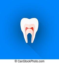 plat, illustration, dent, vecteur, structure, icône