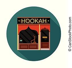 plat, illustration, devant, vecteur, hookah, icône, vue