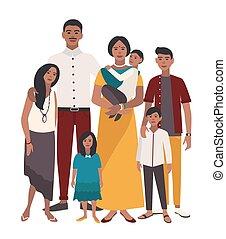 plat, illustration., famille, gens, père, grand, mère, indien, portrait., relatives., children., cinq, coloré, heureux