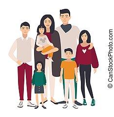 plat, illustration., famille, gens, père, grand, mère, portrait., asiatique, children., cinq, heureux, coloré, relatives.