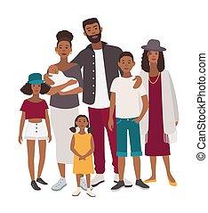 plat, illustration., famille, gens, père, grand, mère, portrait., relatives., africaine, children., cinq, coloré, heureux