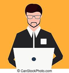 plat, illustration., fonctionnement, travailleur indépendant, vecteur, computer.