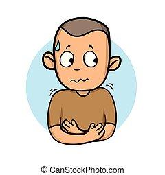 plat, illustration., frissonner, isolé, dessin animé, arrière-plan., unwell., vecteur, conception, type, malade, blanc, sentiment, icon., sweating.