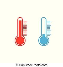 plat, illustration., froid, chaud, vecteur, thermomètre, icône, weather., design.
