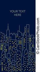 plat, illustration., gabarit, nuit, cityscape, ligne