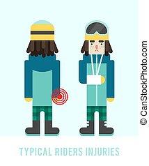 plat, illustration., garçon, style:, sick., arm., cassé, vecteur, snowboarders, injuries., typique, blessures, snowboarder