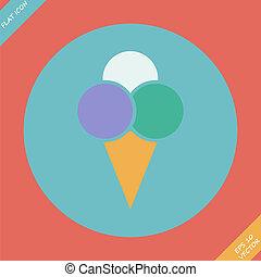 plat, illustration., -, glace, vecteur, conception, icône, crème