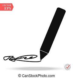 plat, illustration., gris, arrière-plan., stylo, vecteur, conception, icône, pictograph, icône