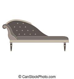 plat, illustration., icône, classique, isolated., sofa, lit, vecteur, conception, retro, vendange, luxe, meubles, vue côté