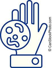 plat, illustration., icône, signe, concept., main, vecteur, sale, bactérie, symbole, ligne, contour