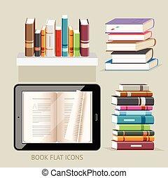 plat, illustration., iconen, set., vector, boek
