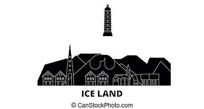 plat, illustration, islande, voyage, landmarks., symbole, horizon, vecteur, noir, vues, ville, set.