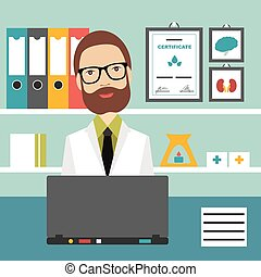 plat, illustration., kantoor, arts, workplace., vector