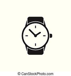 plat, illustration., klok, horloge, vector, icon.
