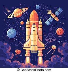 plat, illustration., lancement, concept., espace, objets, exploration, fond, navette