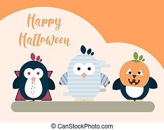 plat, illustration., moderne, halloween, stylisé, characters., gabarit, carte, manchots