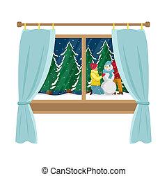 plat, illustration., noël famille, fenêtre, snowman., fenêtre., confection, dessin animé, vue