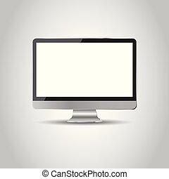 plat, illustration ordinateur, bureau, réaliste, vecteur, icon.