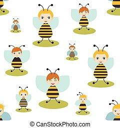 plat, illustration., pattern., seamless, ontwerp, baby, achtergrond., vector, kind, witte , bij, geitje, spotprent, design.