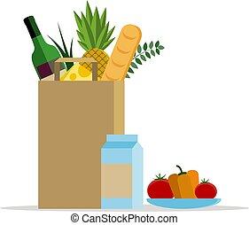 plat, illustration., plaque, paquet, sain, légumes, nourriture., sac papier, vecteur, frais, produce.