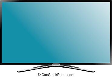 plat, illustration., plasma., écran tv, réaliste, lcd, vecteur