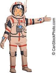 plat, illustration., pointage, espace, isolé, arrière-plan., vecteur, plainte astronaute, blanc, dehors.