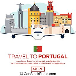 plat, illustration., portugal, voyage, vecteur, skyline.