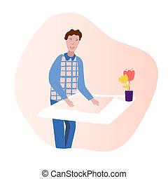plat, illustration, presentation., conception, confection, homme