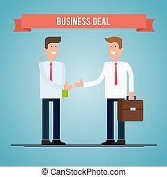 plat, illustration., professionnels, deal., vecteur, secousse, hands.