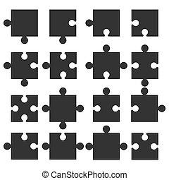 plat, illustration, puzzle, morceaux denteux, vecteur, icon., design.