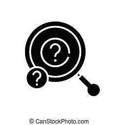 plat, illustration, réponse, icône, noir, recherche, vecteur, symbole, glyph, concept, signe.