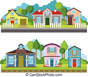 plat, illustration, résidentiel, urbain, maisons, vecteur, village, paysage