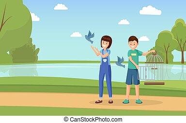 plat, illustration., rechten, domesticated, duiven, activists, tieners, spotprent, characters., vector, birdcage, dier, buitenshuis, kinderen, vrijwilligers, open, spelend, duiven, het bevrijden