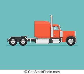 plat, illustration., semi, vecteur, appelé, truck.