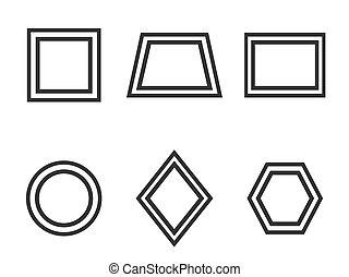 plat, illustration, set., formes, vecteur, fondamental, géométrique, icône, design.