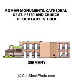 plat, illustration., signe, cathédrale, rue., trier, symbole, vecteur, église, notre, ligne, peter, dame, concept., allemagne, icône