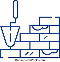 plat, illustration., signe, concept., pose, symbole, vecteur, brique, icône, ligne, contour