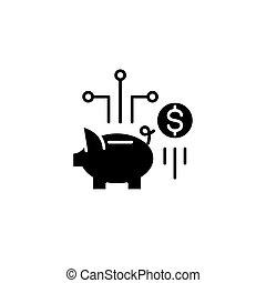 plat, illustration., signe, concept., symbole, économies, vecteur, noir, icône