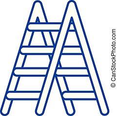 plat, illustration., signe, concept., symbole, vecteur, ligne, icône, escalier, contour