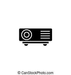 plat, illustration., signe, concept., symbole, vecteur, noir, icône, projecteur