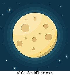 plat, illustration., sky., étoilé, contre, lune, vecteur, nuit